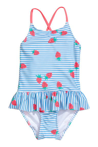 Patterned swimsuit - White/Blue striped - Kids | H&M CN
