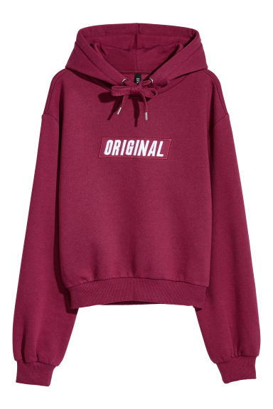 Short hooded top - Burgundy -  | H&M