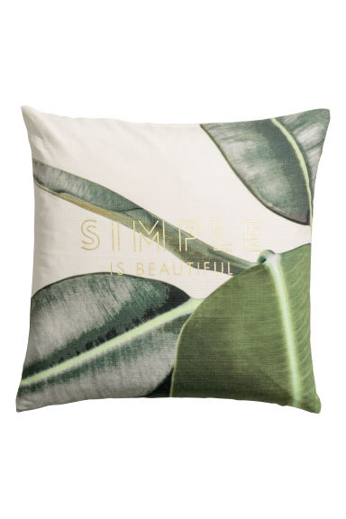 Slub-weave cushion cover - White/Patterned - Home All | H&M CN