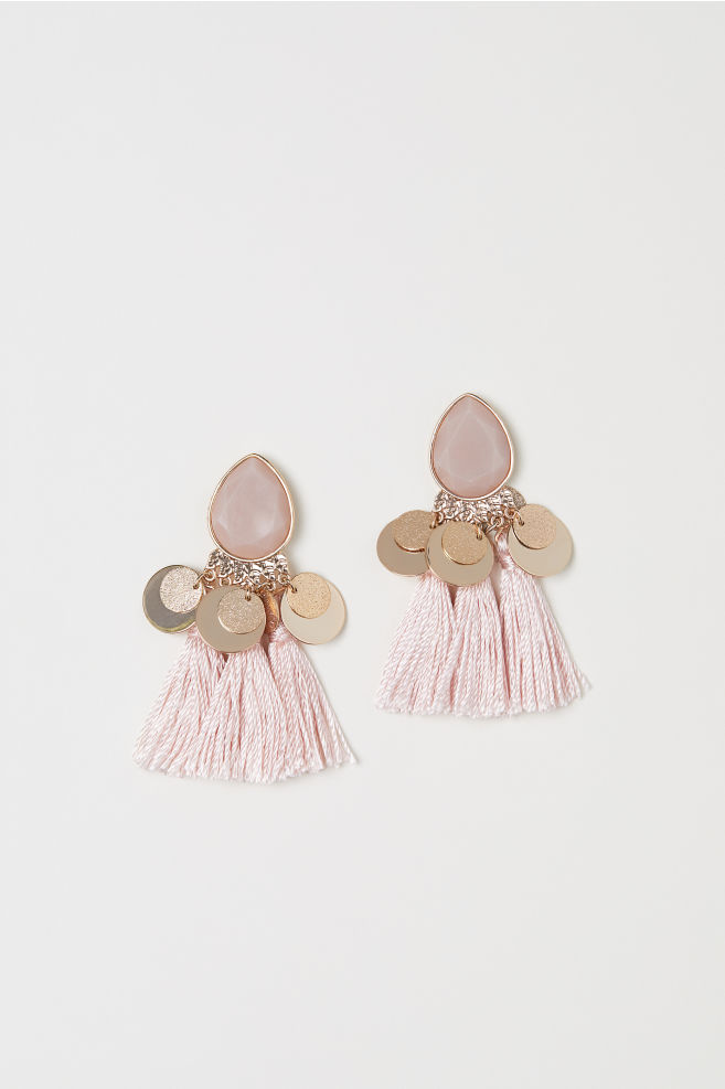 Tasselled earrings - Powder pink - Ladies | H&M US 1
