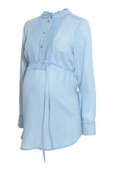 MAMA Lyocell denim blouse - Light denim blue -  | H&M