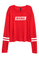 Printed jersey top - Red - Ladies | H&M 2