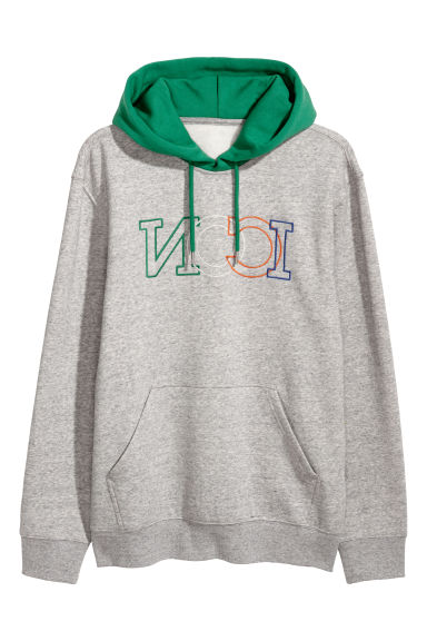 Hooded top with a motif - Grey marl/Green - Men | H&M