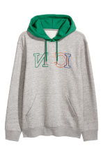Hooded top with a motif - Grey marl/Green - Men | H&M 2