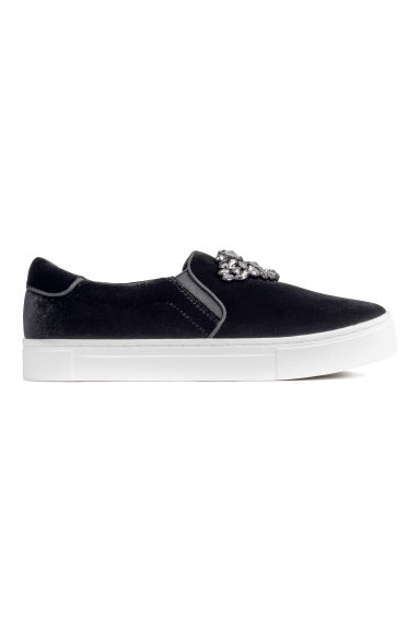 Slip-on trainers - Black/Velour -  | H&M GB