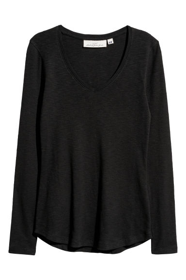 Slub jersey top - Black - Ladies | H&M