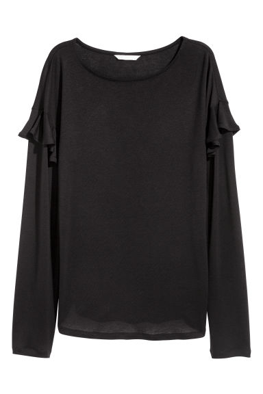Long-sleeved flounced top - Black - Ladies | H&M IE