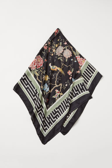 Patterned scarf - Black/Patterned - Ladies | H&M CN