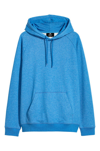 Hooded top with raglan sleeves - Blue marl -  | H&M