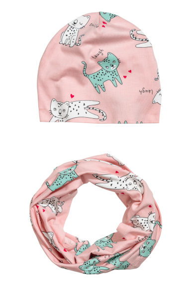 Hat and tube scarf - Light pink/Cats - Kids | H&M CN