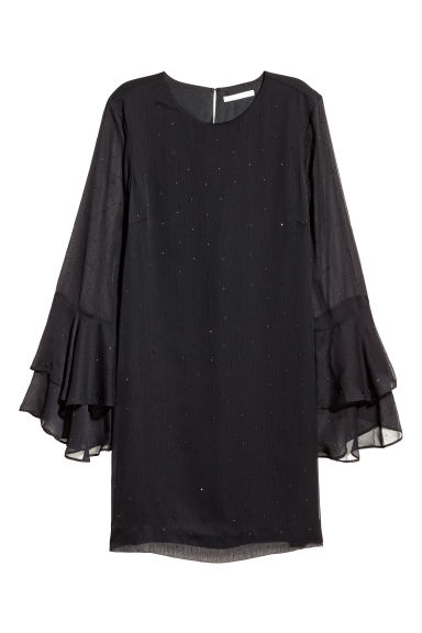 Flounce-sleeved dress - Black/Studs - Ladies | H&M CN