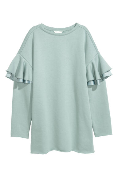 Long sweatshirt with frills - Mint green - Ladies | H&M