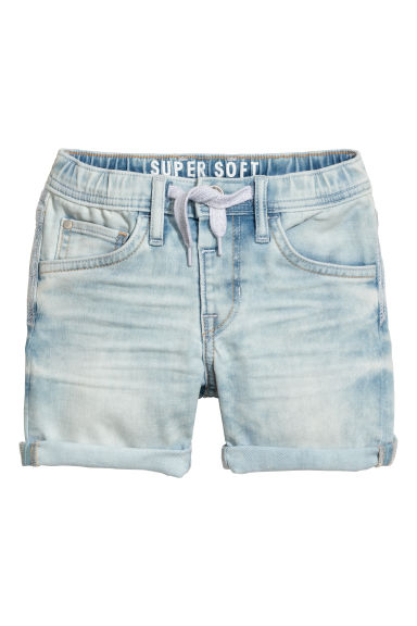 Super Soft denim shorts - Light blue washed out - Kids | H&M CN
