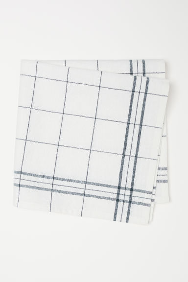 Linen-blend napkin - Natural white/Grey checked - Home All | H&M CN