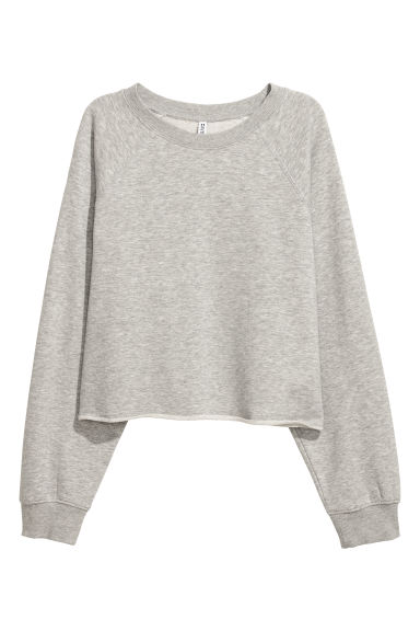 Short sweatshirt - Light grey marl - Ladies | H&M
