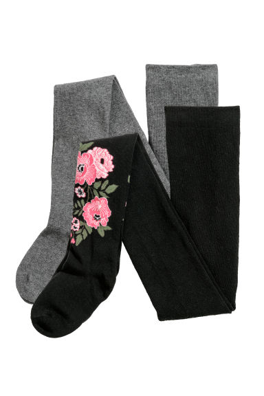 2-pack tights - Dark grey/Floral - Kids | H&M CN