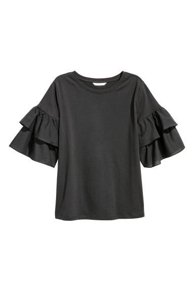 Top with frills - Charcoal grey - Ladies | H&M