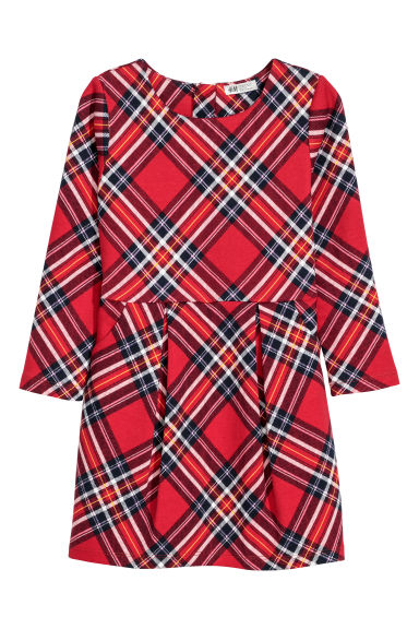 Patterned jersey dress - Red/Blue checked -  | H&M CN