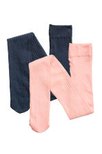 2-pack ribbed tights - Dark blue/Pink - Kids | H&M CN 1