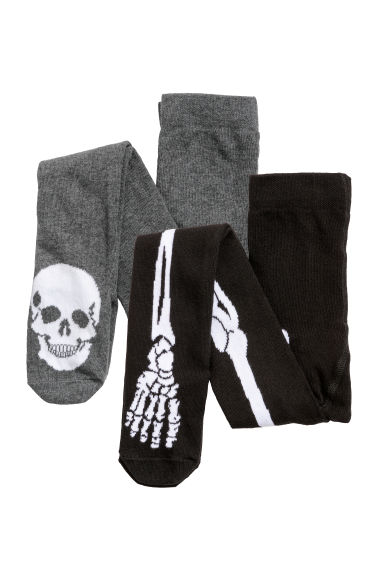 2-pack fine-knit tights - Black/Skeleton -  | H&M CN