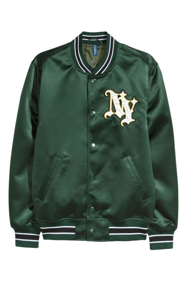 Embroidered baseball jacket - Green/NY - Men | H&M IE