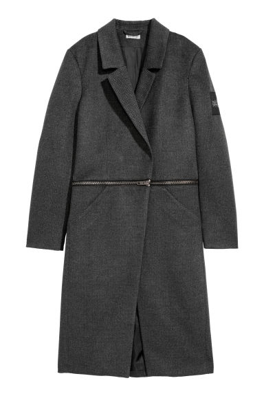 Coat with a zip - Dark grey/Patterned -  | H&M CN