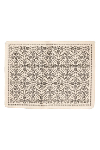 Patterned bath mat - Natural white/Anthracite grey - Home All | H&M CN