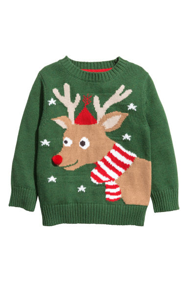Knitted cotton jumper - Green/Reindeer - Kids | H&M