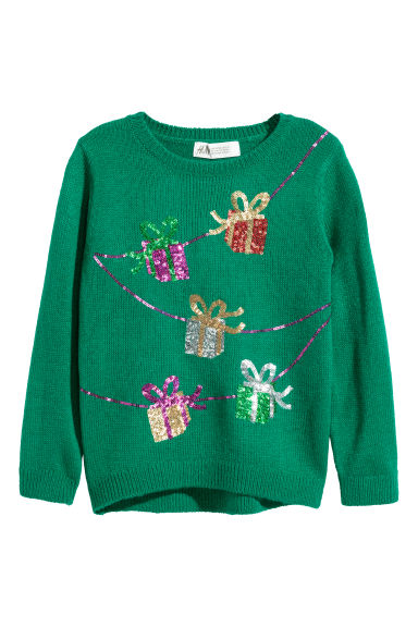 Jumper with sequins - Green/Parcels - Kids | H&M GB