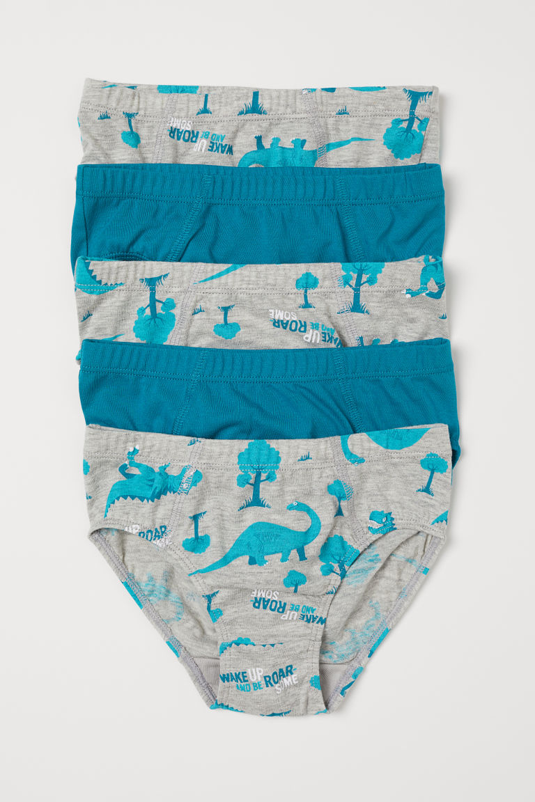 5-pack boys' briefs - Grey marl/Dinosaurs - Kids | H&M GB