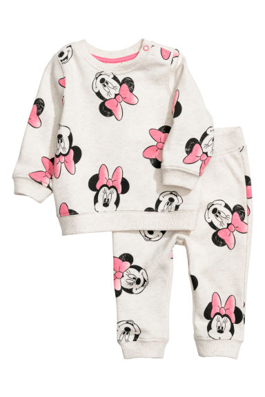 Sweatshirt and joggers - Light beige/Minnie Mouse - Kids | H&M
