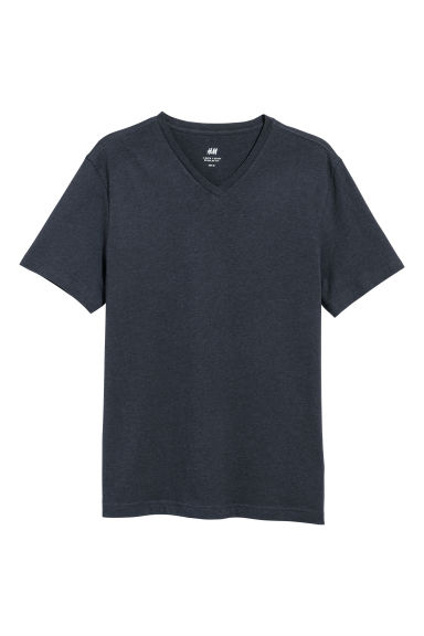 V-ringad t-shirt Regular fit - Marinblå - HERR | H&M SE