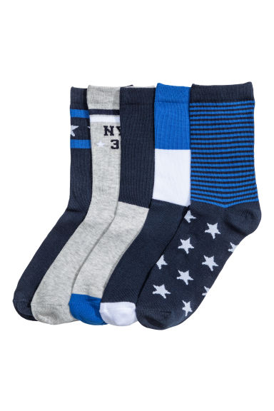 Pack de 5 calcetines - Azul oscuro/Rayas -  | H&M ES 1