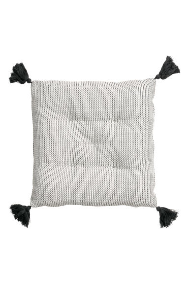 Seat cushion with tassels - White/Dark grey - Home All | H&M CN