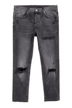 Cropped Relaxed Skinny Jeans - Negro/Washed out - HOMBRE | H&M ES 1
