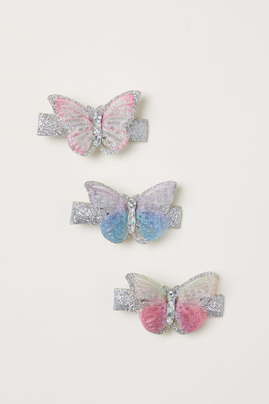 3-pack butterfly hair clips - Silver-coloured/Light pink - Kids | H&M CN