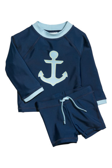Swim set with UPF 50 - Dark blue - Kids | H&M CN