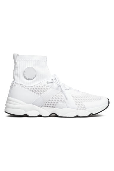 Hi-tops with a knitted shaft - White - Men | H&M IE
