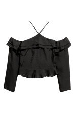 Off-the-shoulder top - Black/Patterned - Ladies | H&M 2