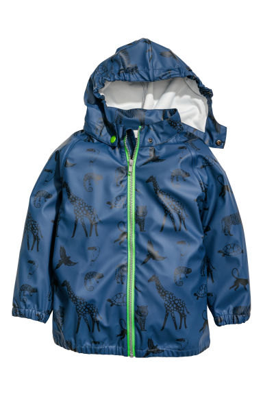 Hooded rain jacket - Dark blue/Jungle animals - Kids | H&M CN
