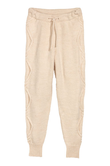 Cable-knit joggers - Natural white - Ladies | H&M
