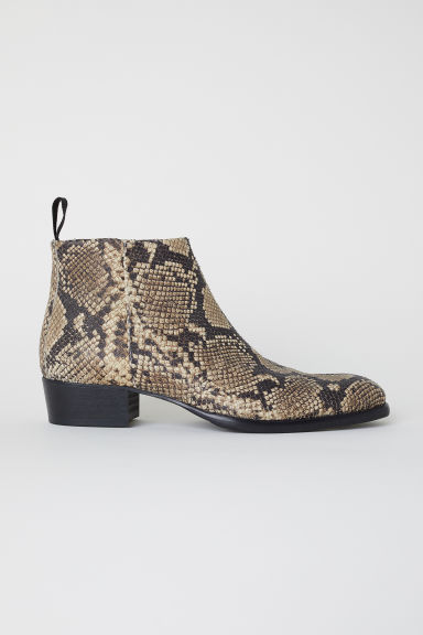 Leather Chelsea boots - Snakeskin-patterned - Men | H&M