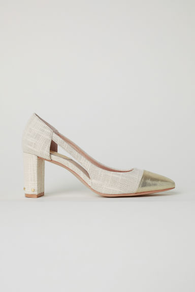 Block-heel court shoes - Beige - Ladies | H&M