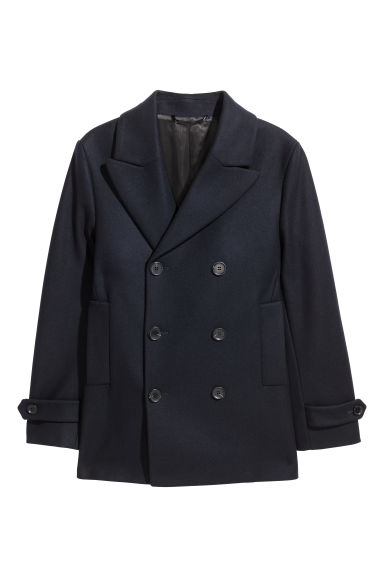 Wool-blend pea coat - Dark blue -  | H&M