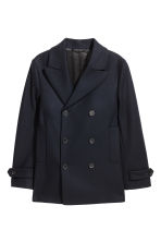 Wool-blend pea coat - Dark blue - Men | H&M GB 2