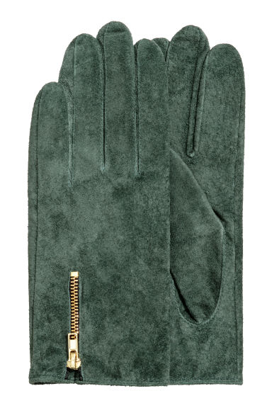 Suede gloves - Dark green -  | H&M GB