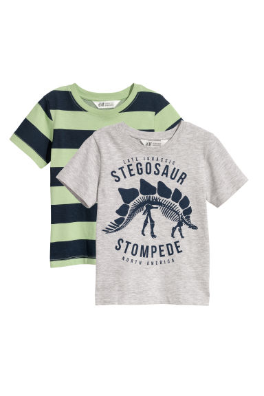 T-shirts, lot de 2 - Gris chiné/rayé - ENFANT | H&M BE