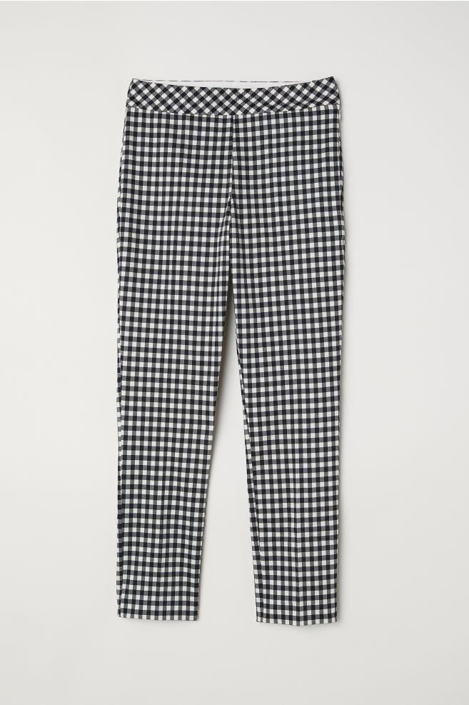 Pantalón pitillo - Negro/Cuadros blancos - MUJER | H&M ES