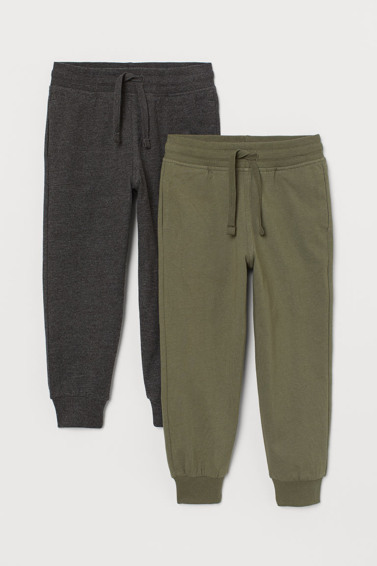 2-pack joggers - Khaki green/Dark grey marl - Kids | H&M GB