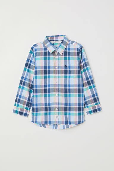 Patterned shirt - Light blue/Checked - Kids | H&M CN